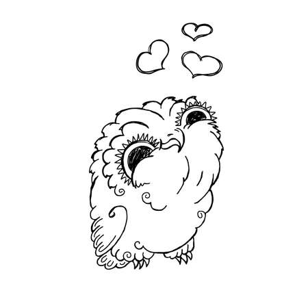 owlet: Cute Owl Doodle Illustration. Grunge Kawaii Picture. Lovely Owlet. Illustration