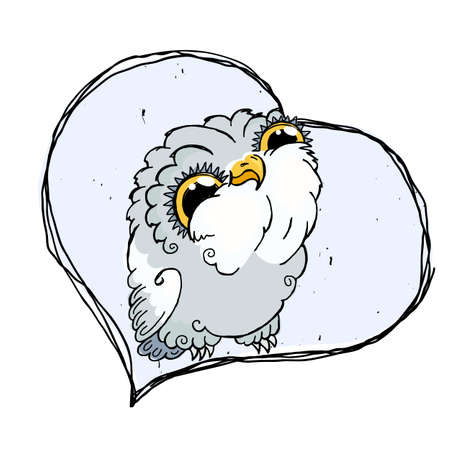 Cute Owl Doodle Illustration. Grunge Kawaii Picture. Vector Lovely Owlet. Illustration