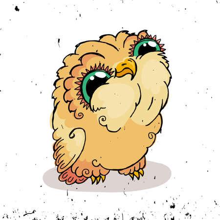 owlet: Cute Owl Doodle Illustration. Grunge Kawaii Picture. Vector Owlet.