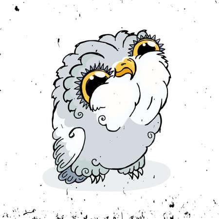 Cute Owl Doodle Illustration. Grunge Kawaii Picture. Owlet.