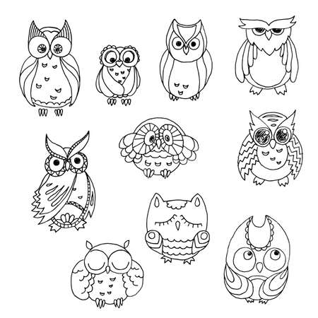 furry: Doodle owls set. furry bird collection. Illustration