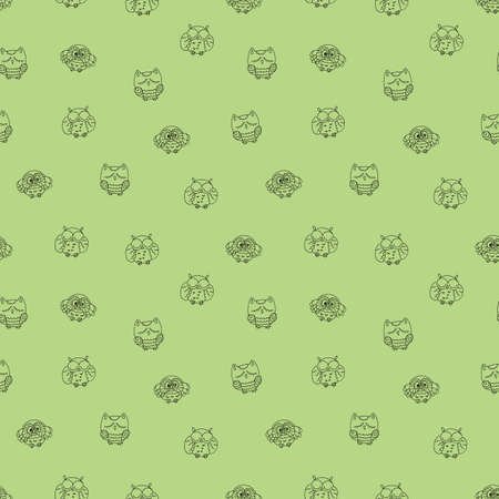 furry: Seamless Pattern with Furry Doodle Owls. Endless Vector Ornament. Illustration