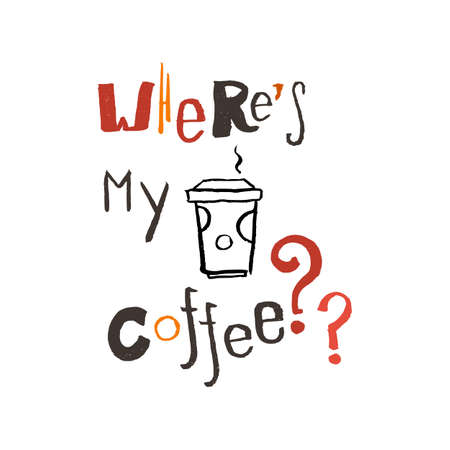 traced: Modern hand coffee lettering. Traced brush. Typography. Vector.