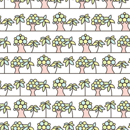 chlorophyll: Seamless tree pattern. Background vector line ornament.