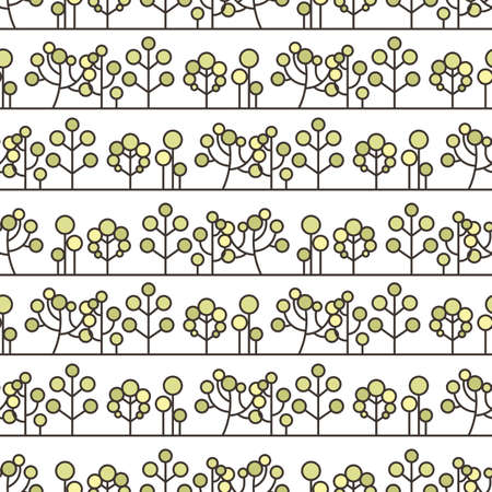 thickets: Seamless tree pattern. Background vector line ornament.