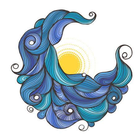 Ink doodle water waves with sun. Vector illustration. Illustration