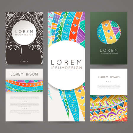 hair feathers: Set of vector design templates. Brochures in random colorful style. Frames and backgrounds designs.