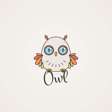 furry: Lined owl emblem. Vector illustration in line style Furry bird.