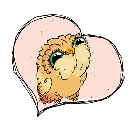 Cute Owl Doodle Illustration. Grunge Kawaii Picture. Lovely Owlet. Illustration