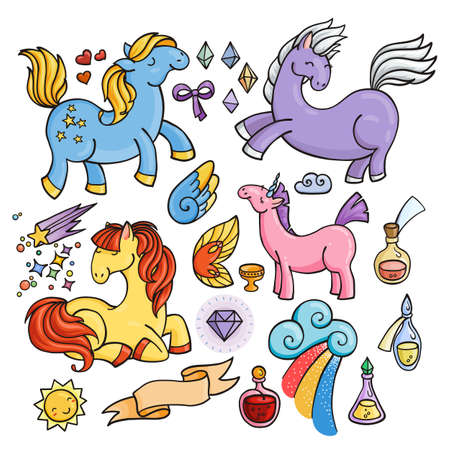 Magic set of unicorns, wings and potions. Pony collection. Banco de Imagens - 62049186