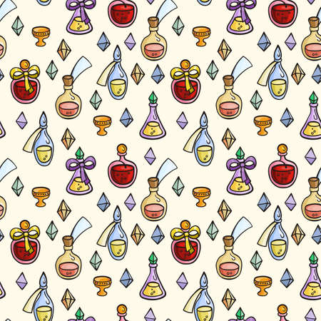 synthesis: Seamless pattern with magic glass flasks. Science potions doodle style sketch. Alchemy and wonderful science.