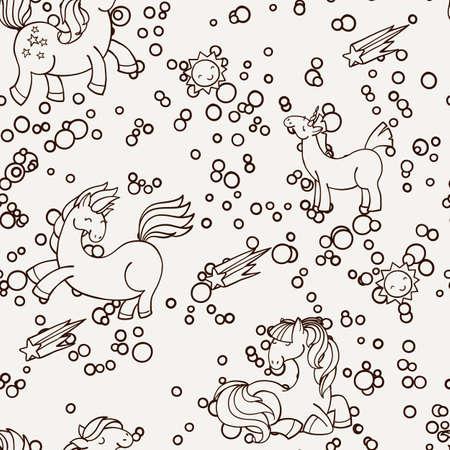 suns: Cute seamless unicorn pattern with stars and suns. Magic pony ornament.