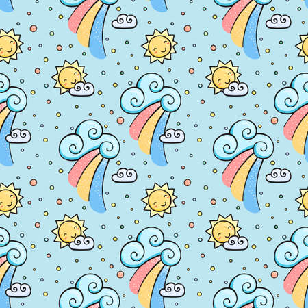Funny pattern with sun, cloud and rainbow. Seamless cartoon ornament.