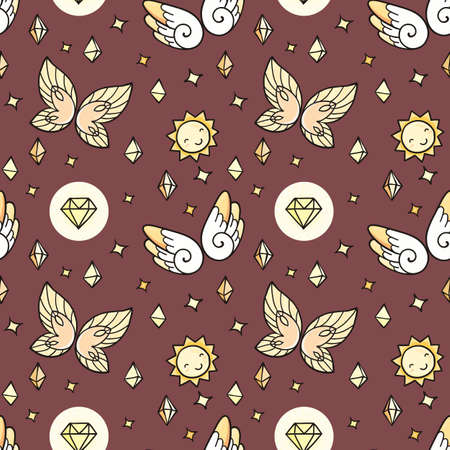 suns: Seamless pattern with butterflies and suns and gems. Magic ornament.