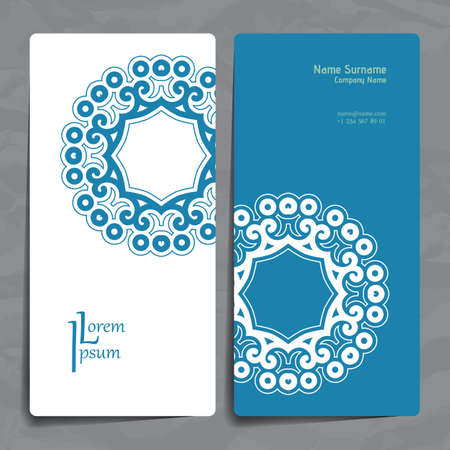 marriage invitation: Set of vector design templates. Brochures in random colorful style. Vintage frames and backgrounds. Business card with floral circle ornament. Mandala style.