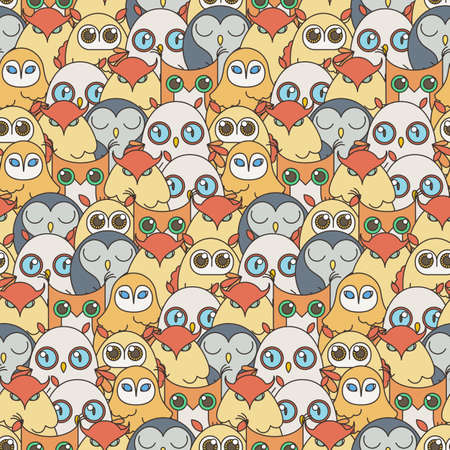 Random owls seamless pattern. Cute nignht birds. For coloring books, wrapping, printing, textile. Vector illustration
