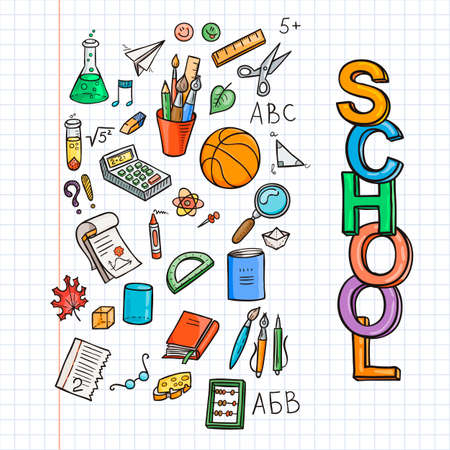 schoolbook: Doodle school icon set. Education supplies schoolbook, notebook, pen, pencil, stationary, training aids, ball, etc. Vector collection