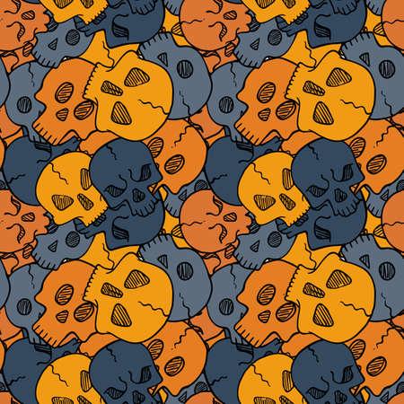 Vector seamless pattern with random skulls. Scary design. Illustration
