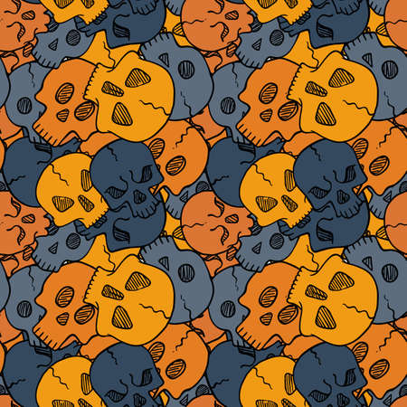 Vector seamless pattern with random skulls. Scary design. Иллюстрация