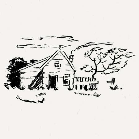 traced: Landscape park with building. Ink traced illustration. Illustration