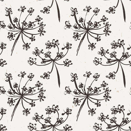 milfoil: Seamless pattern with wet dandelion or milfoil flowers. Floral stylish endless wallpaper.