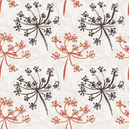wet wallpaper: Seamless pattern with wet dandelion or milfoil flowers. Floral stylish endless wallpaper.