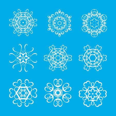 mandalas: Set of monogram ornate mandalas. Elegant circular pattern. Vector collection