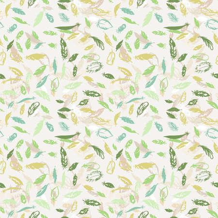 Ink feather seamless pattern. Hand drawn doodle vector background. Decorative design illustration with traced elements. Ilustração Vetorial