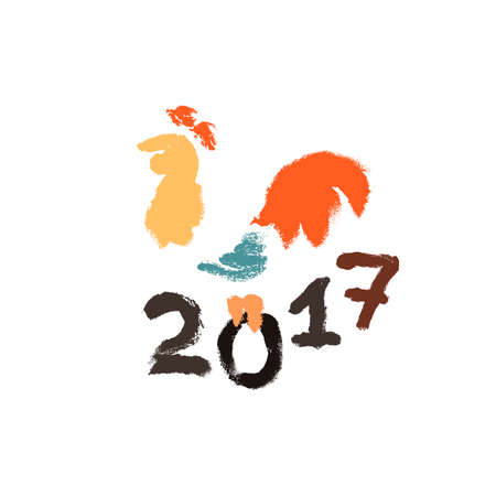 inking: Inking or gouache rooster silhouette. Symbol of 2017. Grunge style. Illustration