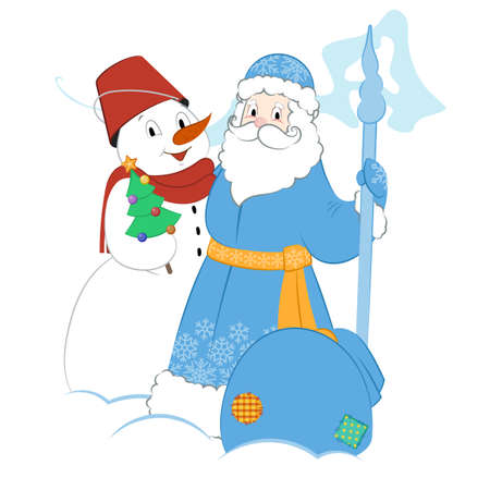 moroz: Cartoon Father Frost with Snowman and presents. A small Christmas tree and a big bag of gifts.
