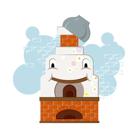 Illustration with happy and cheerful russian oven with a pot on the chimney. For kids and children.