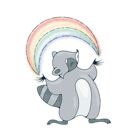 racoon: Illustration with a cheerful racoon playing with a rainbow. Vector image. Illustration