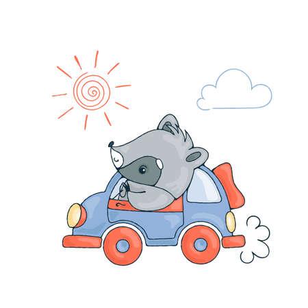 Ilustración con un mapache alegre en coche. Imagen del vector.