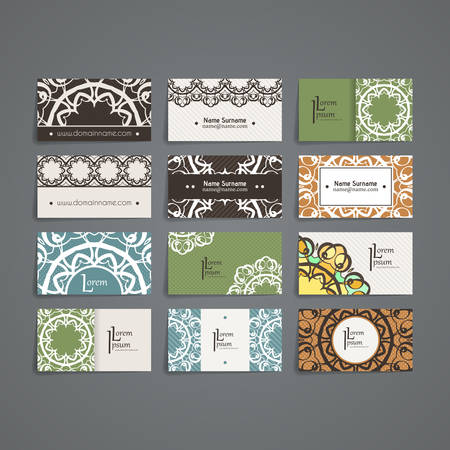 artnouveau: Set of vector design templates. Brochures in random colorful style. Vintage frames and backgrounds. Business card with monogram circle ornament. Mandala style in art nouveau.