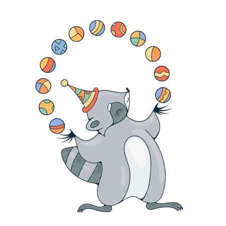 payasos caricatura: Ilustración de juego con un mapache alegre con un bolas. Imagen del vector.