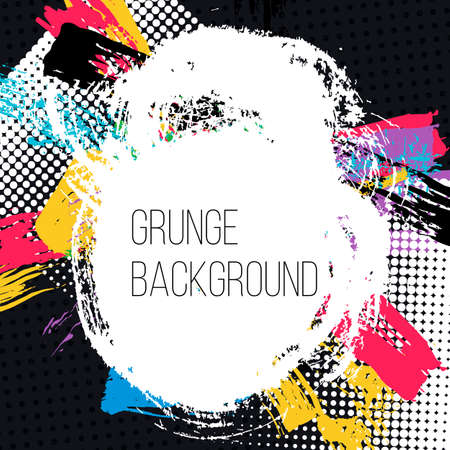 grease paint: Grunge colorful backgound. Abstract poster. Vector illustration. Illustration