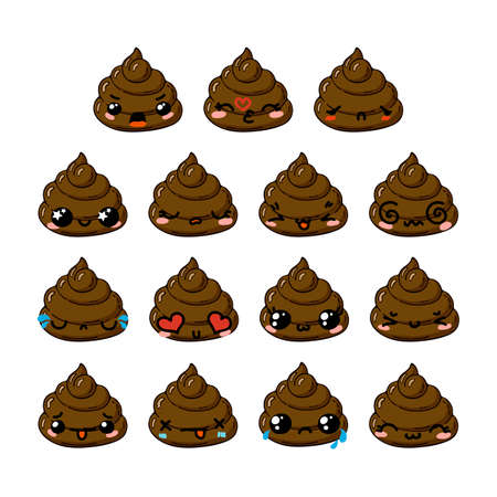 turd: Kawaii vector poop emoticons set. Turd emoji, icons for chat, mobile applications and other business.