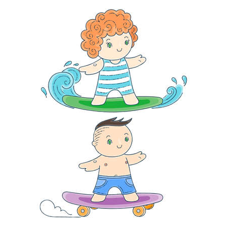 Illustration of a Kids on a Surfboard and Skateboard. Kawaii Children Set. Illustration