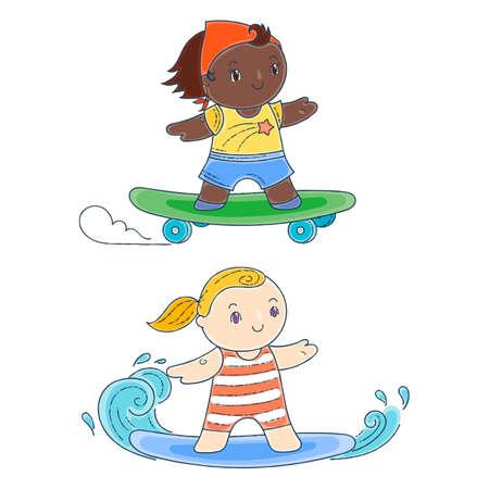 Illustration of a Kids on a Surfboard and Skateboard. Kawaii Children Set. Illustration
