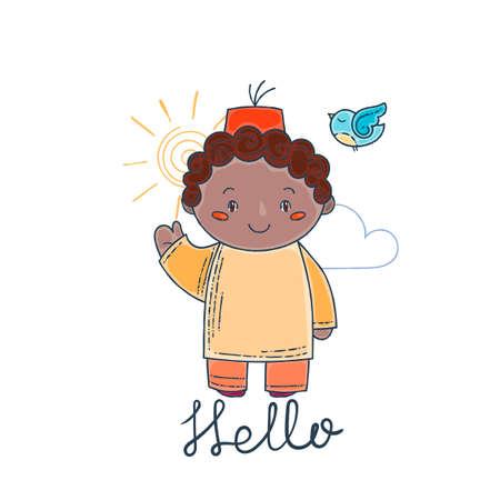 Cute and happy boy say hello. Vector illustration. Illustration