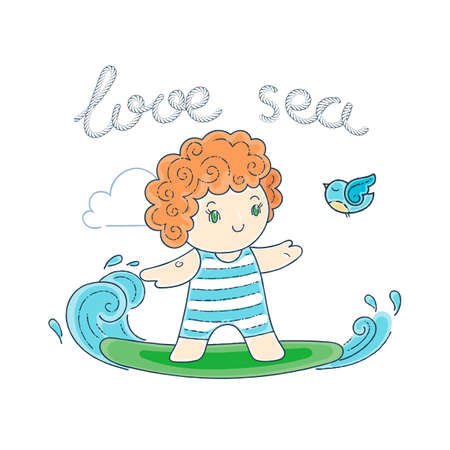 enfant maillot de bain: Illustration avec un Kid sur un Surfboard Riding a Wave. Vector illustration.