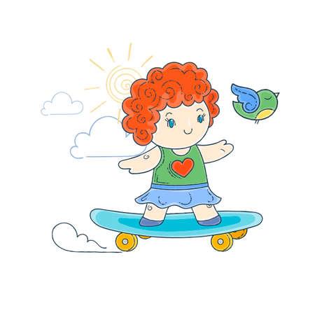 Vector illustration of skating girl. Doodle cartoon.