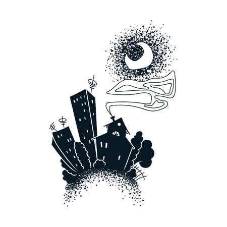 Cartoon dark city. Vector illustration.