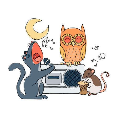 bawl: Animal musical band, cat, rat and owl. Karaoke illustration.