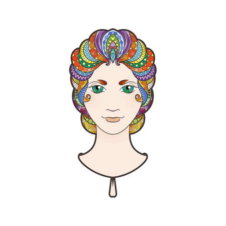bright eyes: Beautiful girl with intricately patterned, braid and bright eyes. Rainbow locks.
