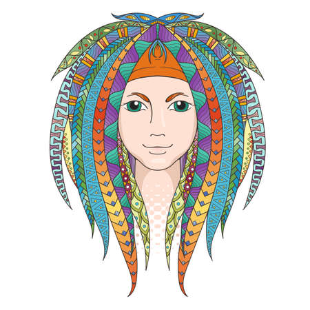 Colorful young girl with patterned dreadlocks. Ornate hairstyle. Vector illustration.
