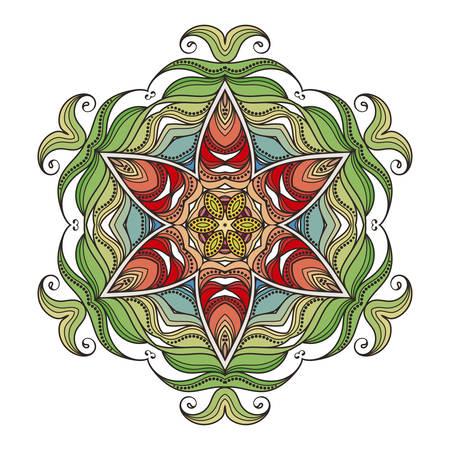Vector mandala. Mehndi lace tattoo. Art Nouveau weave. The circular pattern. Illustration
