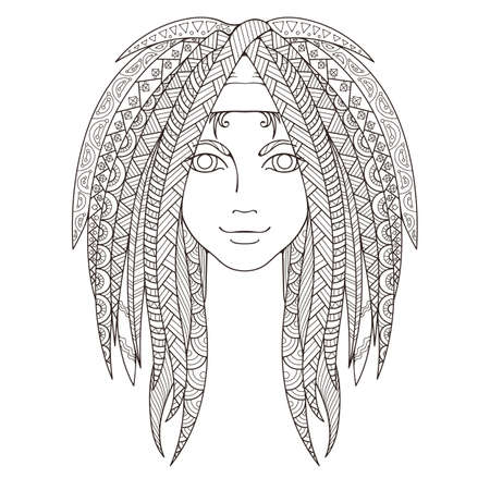 dreadlocks: Young girl with patterned zentangle dreadlocks. Page for coloring. Ornate hairstyle. Vector illustration. Illustration