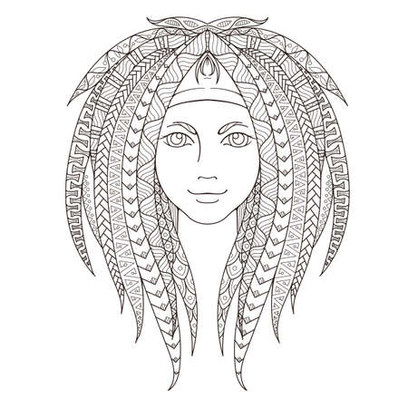 Young girl with patterned dreadlocks. Page for coloring. Ornate hairstyle. Vector illustration. Illustration