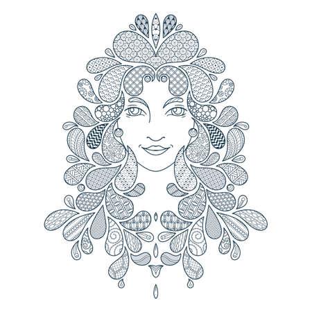 Imprimer pour le livre de coloriage. Portrait d'une belle fille avec des serrures. Coloriage. cheveux Patterned. Vector illustration sur fond blanc. Vecteurs